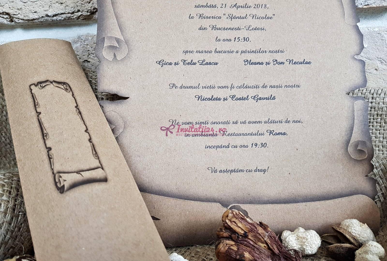 Invitatie Nunta Tip Papirus Cod 2468